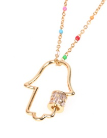 Fashion Golden Micro-set Zircon Palm Hollow Stainless Steel Necklace