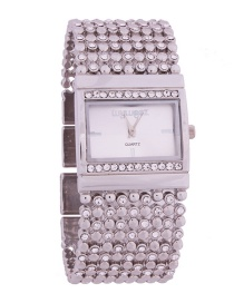 Fashion Silver Women's Quartz Watch With Steel Band And Diamonds