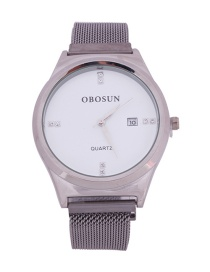 Fashion Silver Quartz Watch With Diamonds And Magnets In Milan