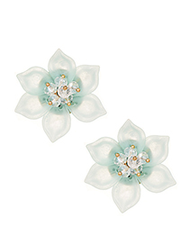 Fashion Green Resin Flower Stud Earrings