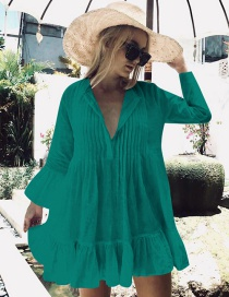 Fashion Lake Green Cotton Cotton Pleated Button Flared Sleeves Plus Size Sun Protection Clothing