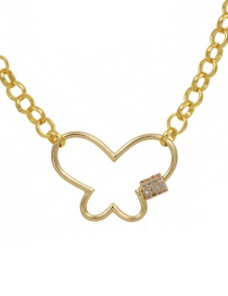 Fashion Golden Cubic Zirconia Chain Butterfly Necklace