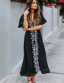 Fashion Black V-neck Long Sunscreen Dress