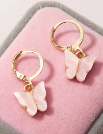Fashion Pink Acrylic Butterfly Alloy Earrings