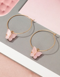 Fashion Pink Acrylic Butterfly Alloy Circle Earrings
