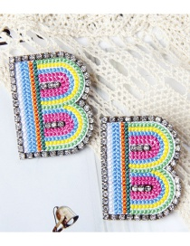 Fashion B Color Alphabet Embroidered Contrast Diamond Earrings