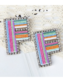 Fashion F Color Alphabet Embroidered Contrast Diamond Earrings