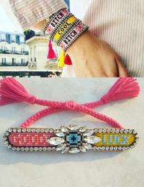 Fashion Rose Pink + Yellow Hand-stitched Rice-bead And Diamond-tassel Bracelet