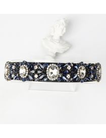Fashion White + Dark Blue Copper Claw Studded Wide Flower Hoop With Diamonds
