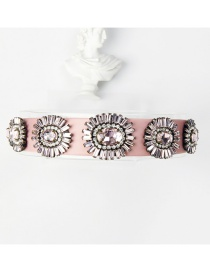 Fashion Purple Pink Copper Claw Studded Wide Flower Hoop With Diamonds