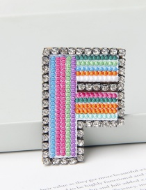 Fashion F Color Brooch With Embroidered Letters And Diamonds
