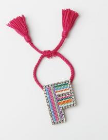 Fashion F Color Embroidered Woven Adjustable Crystal Alphabet Bracelet