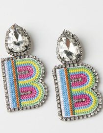 Fashion B Color Embroidered Drop Earrings With Diamonds And Letters