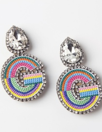 Fashion G Color Embroidered Drop Earrings With Diamonds And Letters