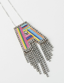 Fashion A Color Alphabet Mixed Color Embroidered Diamond And Fringe Necklace
