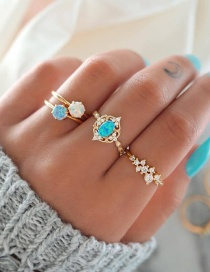 Fashion Color Mixing Crystal Alloy Ring Set With Diamonds
