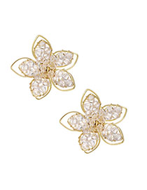Fashion Golden Alloy Resin Beads Double Flower Stud Earrings