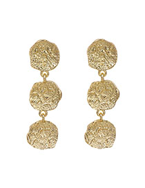 Fashion Golden Alloy Concave Irregular Round Studs