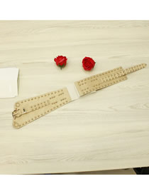 Fashion Creamy-white Wide Belt With Studded Elastic Buckle