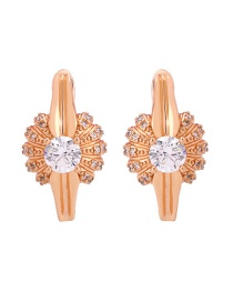 Fashion Rose Gold 18k Gold Earrings With Zircon Flowers
