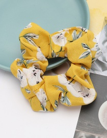 Fashion Yellow Flower Printed Fabric Bowel Hair Rope
