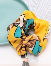 Fashion Yellow Flower And Grass Contrast Color Pattern Cloth Bowel Hair Rope