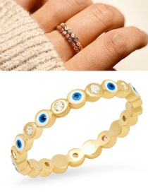 Fashion Royal Blue Gold-plated Closed Eyes Ring With Oil And Diamonds
