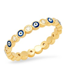 Fashion Navy Blue Gold-plated Closed Eyes Ring With Oil And Diamonds