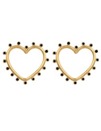 Fashion Black Love Drop Oil Pierced Earrings