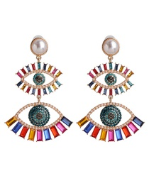 Fashion Color Pearl Eye Cutout Stud Earrings With Rhinestones
