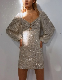 Fashion Beige Sequined Lantern Sleeve Cutout Dress