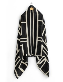 Fashion White Geometric Contrast Print Scarf