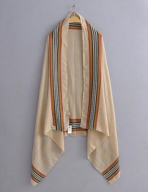 Fashion Apricot Contrast Vertical Stripes Printed Scarf On Both Sides