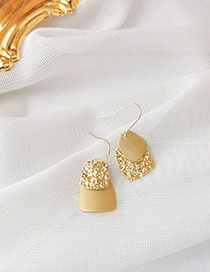 Fashion Golden Metal Concave Trapezoid Earrings