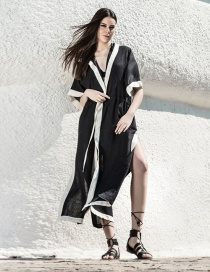 Fashion Black Contrast Contrast Hooded Pumping Cardigan Dress Jacket