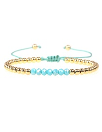 Fashion Light Blue Crystal Brass Plated Gold Bead Adjustable Woven Bracelet