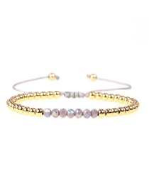 Fashion Gray Crystal Brass Plated Gold Bead Adjustable Woven Bracelet