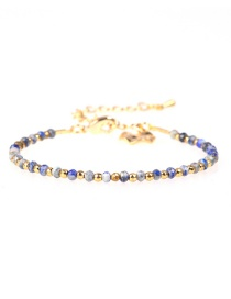 Fashion Royal Blue Flat Faceted Natural Stone Mixed Color Gold-plated Bracelet