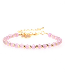 Fashion Pink Faceted Natural Stone Mixed Color Beaded Copper Plated Real Gold Bracelet