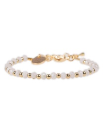 Fashion White Flat Faceted Natural Stone Mixed Color Beaded Copper Plated Real Gold Bracelet