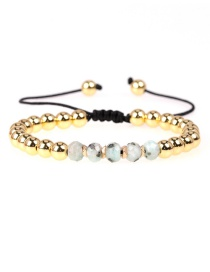 Fashion White Gray Faceted Crystal Beads Braided Copper Beads Adjustable Bracelet