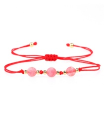 Fashion Red Faceted Natural Stone Gold Bead Woven Bracelet