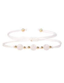 Fashion White Faceted Natural Stone Gold Bead Woven Bracelet