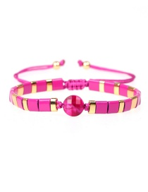 Fashion Red Geometric Lacquered Contrast Woven Bracelet