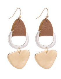Fashion Brown Gold And Silver Pu Leather Stitching Contrast Earrings