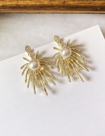 Fashion White Diamond Geometric Earrings With Pearls