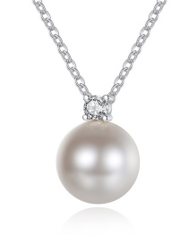 Fashion Platinum Pearl And Diamond Alloy Necklace