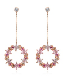 Fashion Rose Gold Gold-plated Pierced Earrings With Fancy Diamonds