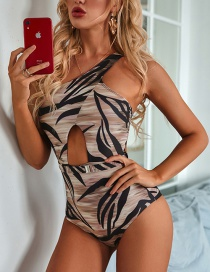 Fashion Brown Irregular One Shoulder Printed One-piece Swimsuit