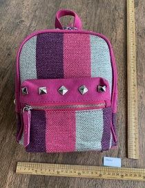 Fashion Red Colorblock Rivet Backpack